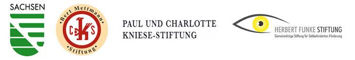 Logos BPA Förderer - Freistaat Sachsen, Bert-Mettmann-Stiftung, Paul-und-Charlotte-Kniese-Stiftung, Herbert-Funke-Stiftung